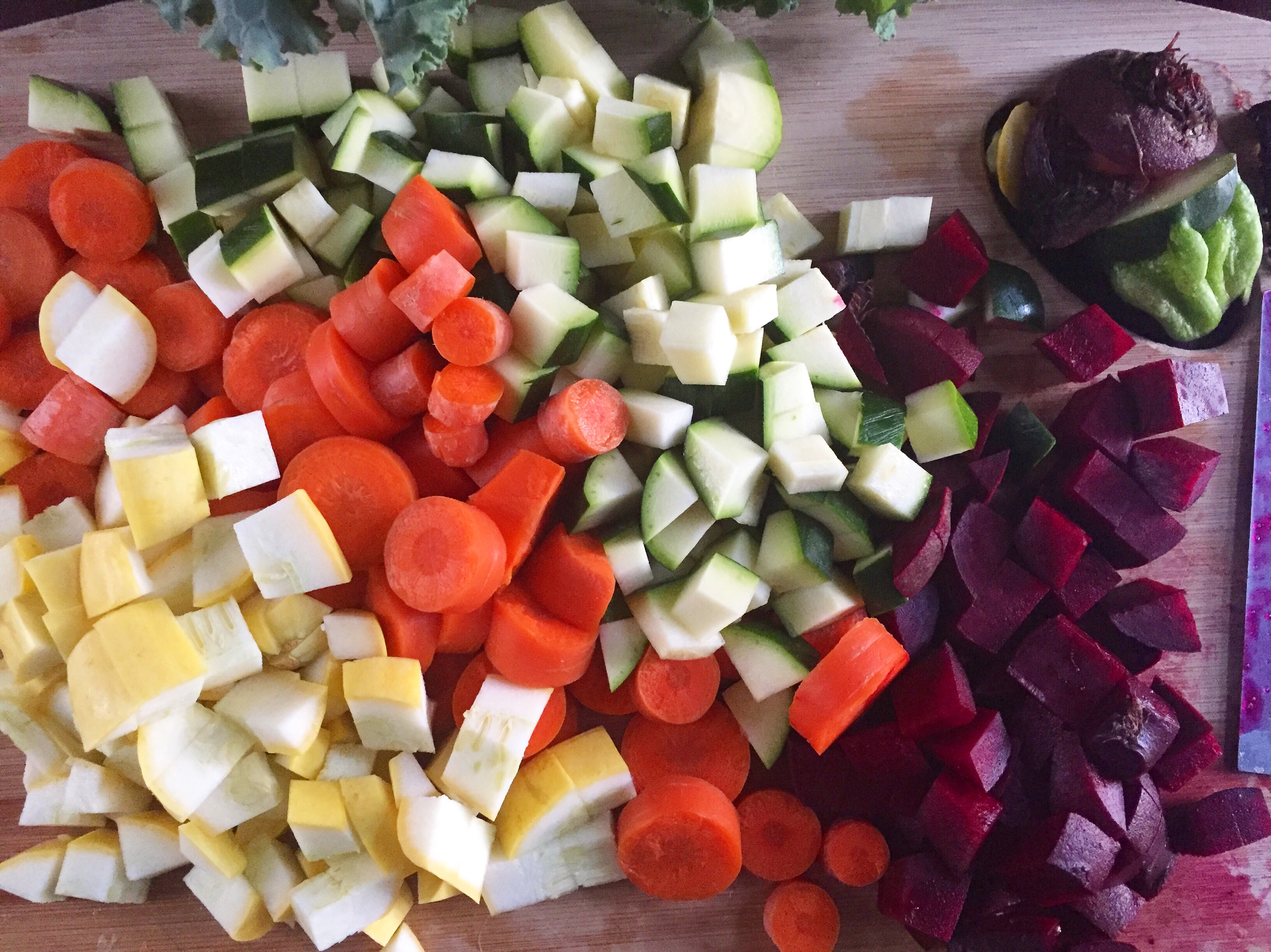 Make this rainbow soup brimming with fresh veggies, protein, and flavor in about 45 minutes for the perfect good-for-you comfort meal. Recipe by Dash of Jazz